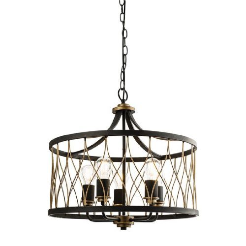 Matt black & rustic bronze effect Pendant Light 61498 by Endon